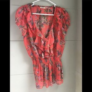 Tops - Coral floral print shirt